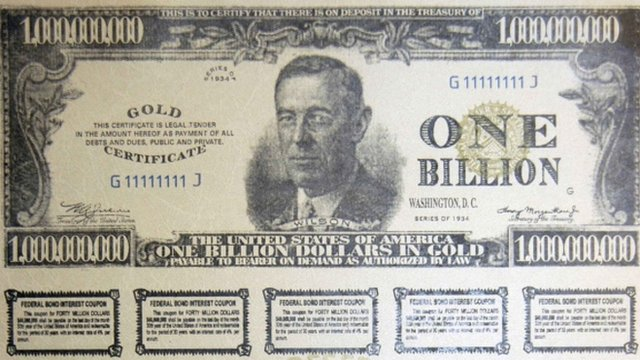 A 1 Billion Dollar gold Bearer bond