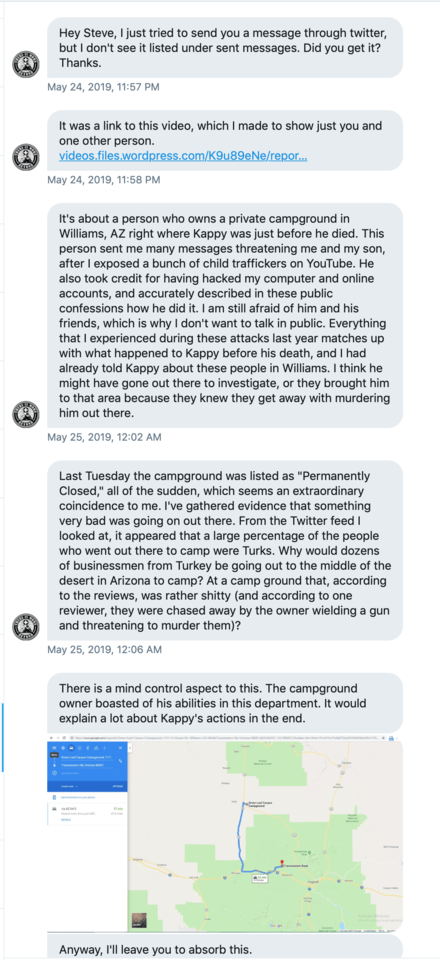 Tracy Twyman's chat which mentions her dead man's switch video and the creepy campground.png