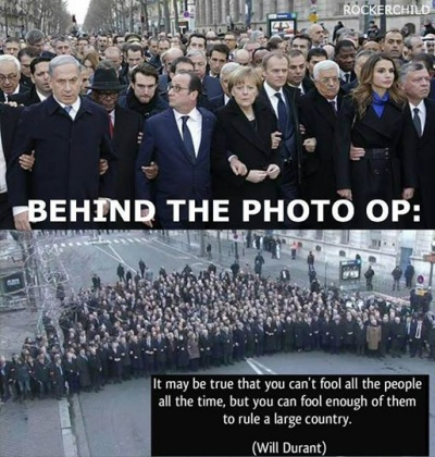 "The ""Orwellian""[15] 'peace march', lead by world leaders some of whom are themselves responsible for mass murder"