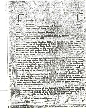 The memo uncovered by McBride in 1985 which formed the basis of his 1988 article in The Nation