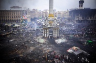The burnt out Euromaidan in Kiev.jpg
