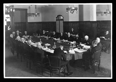 First unofficial meeting of the BIS Board of Directors in Basel, April 1930
